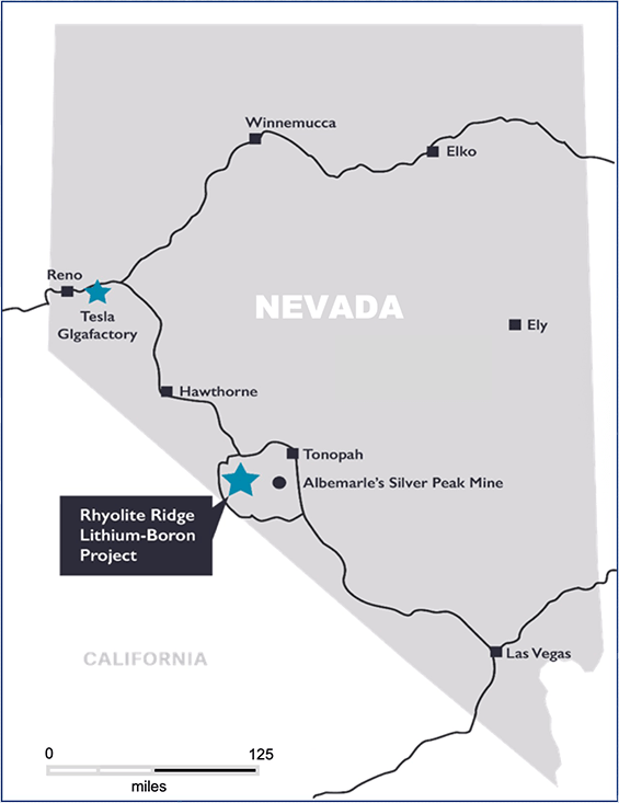 Rhyolite Ridge Lithium-Boron Project Map