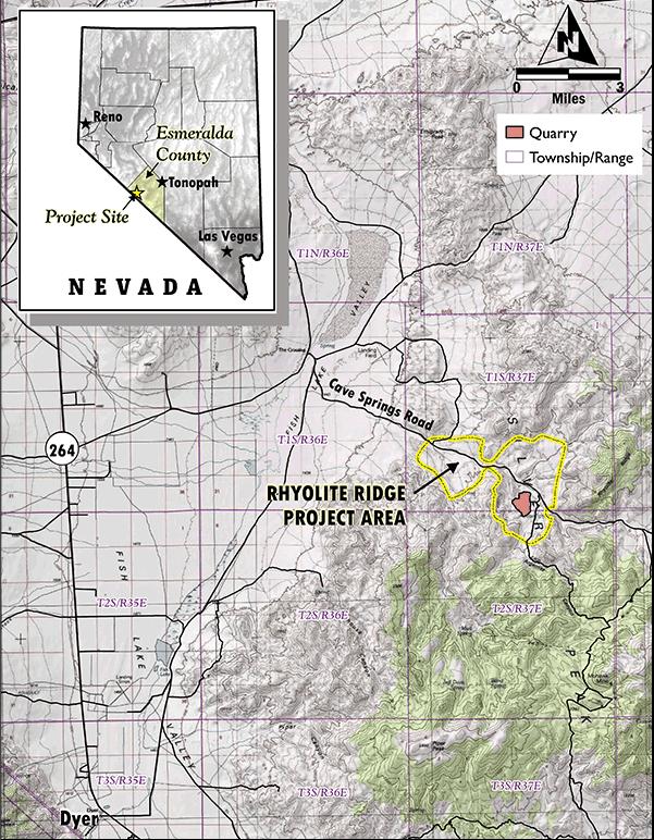 Rhyolite Ridge Location